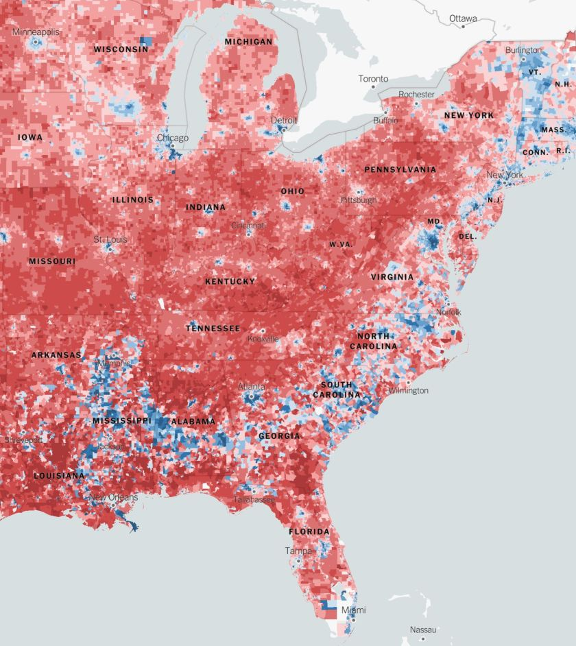 Detailed Red-Blue voting by New York Times.